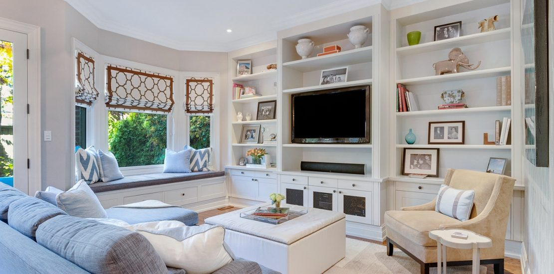 Living room with electrically installed television